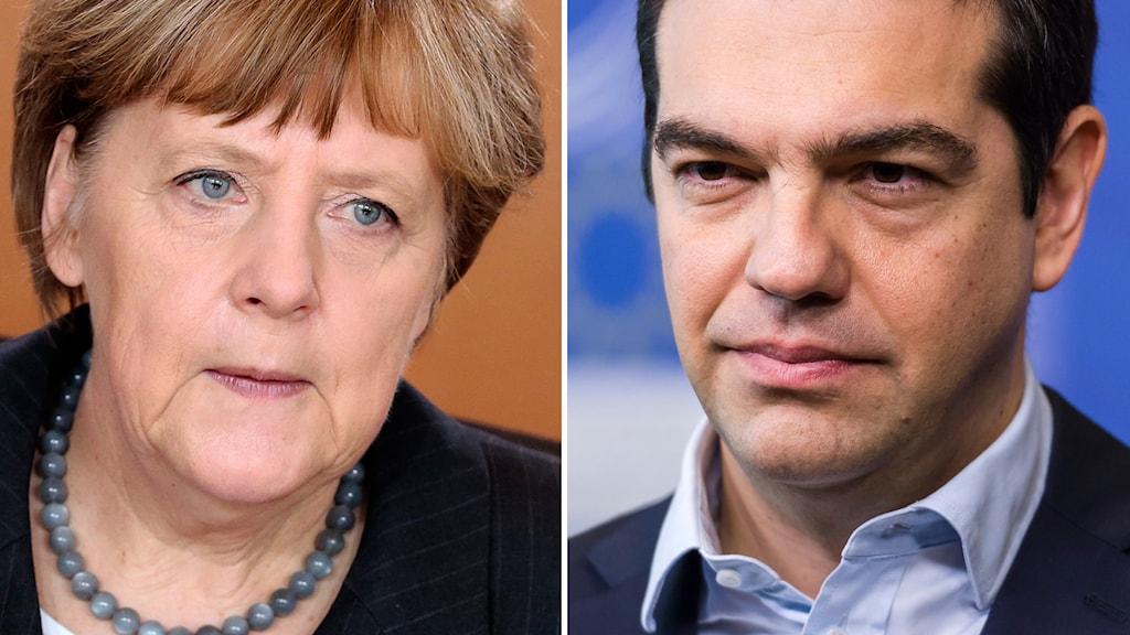 Angela Merkel, Tysklands förbundskansler, och Greklands premiärminister Alexis Tsipras. Foto: TT