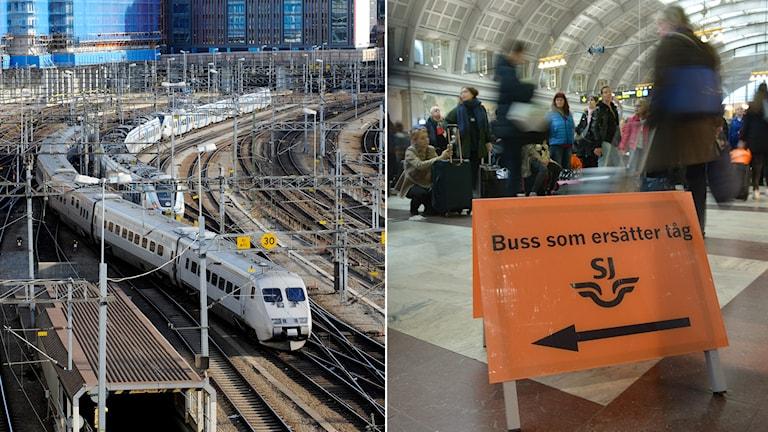 Tåg på väg ut från Stockholms central och skylt som visar vägen till bussar som ersätter inställda tåg. Foto: Bertil Enevåg Ericson/TT samt Fredrik Sandberg/TT