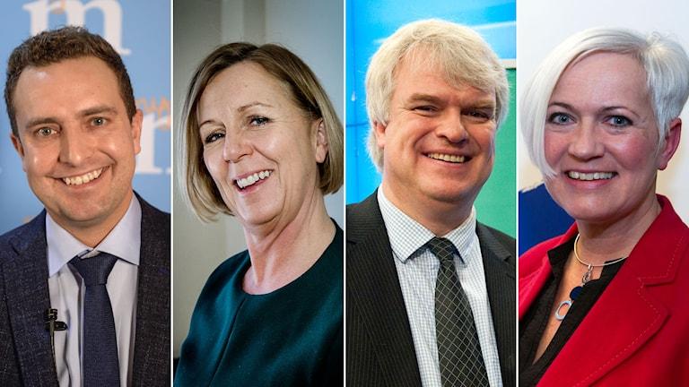 Thomas Tobe (M), Maria Arnholm (FP), Michael Arthursson (C) och Acko Ankarberg (KD) Foto: Fanni Olin Dahl/TT, Tomas Oneborg/SvD/TT, Bertil Ericson/TT