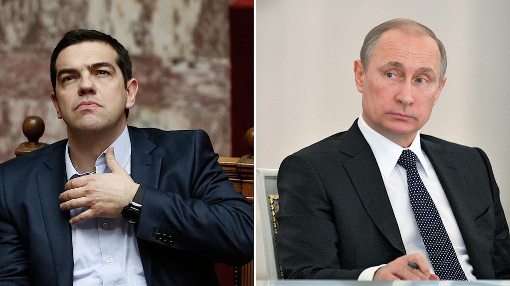 Alexis Tsipras och Vladimir Putin. Foto: Petros Giannakouris/AP/TT, Mikhail Klimentyev/RIA-Novosti/TT.