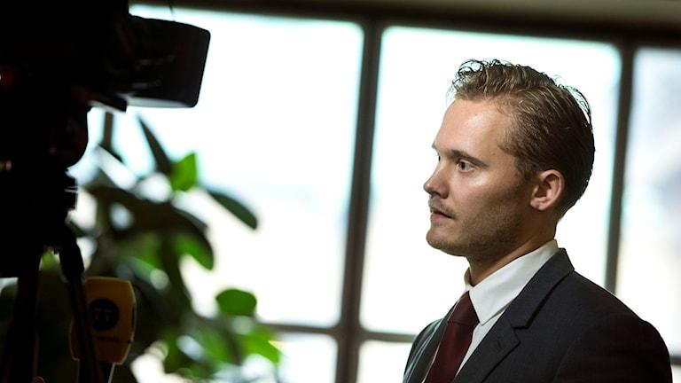 Henrik Vinge, Sverigedemokraternas presschef. Foto: Pontus Lundahl/TT.