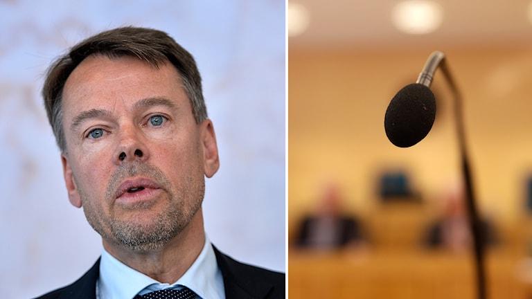Delad bild. Riksåklagaren Anders Perklev och bild från vittnesbåset i en tingsrätt. Foto: Anders Wiklund/TT och Berit Roald/NTB