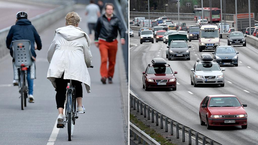 cykel, bil. Foto: Anders Wiklund/TT.