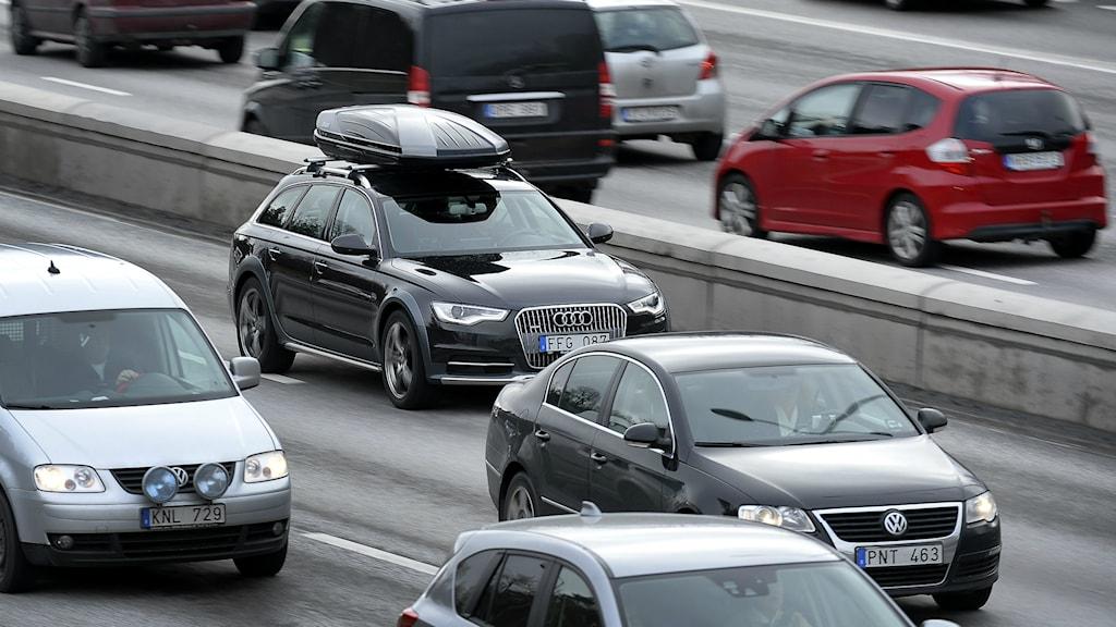 Trafik på E4 från Stockholm på väg norrut. Foto: Anders Wiklund/TT.