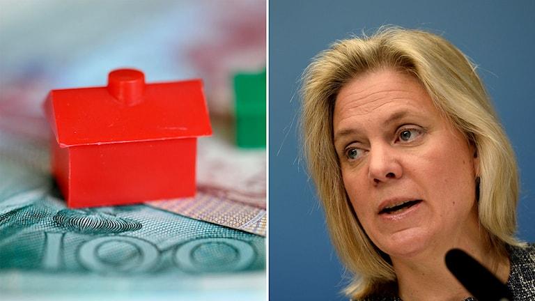 Pengar och några monopolhus symboliserar den svenska fastighetsmarknaden i den ena delen av bilden. På den andra sidan finns finansminister Magdalena Andersson (S). Foto: Jessica Gow,  Pontus Lundahl/TT