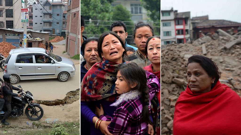 Bil kör på väg med stor spricka. Ledsna och oroliga kvinnor står tillsammans i Katmandu. Kvinna i röd sjal stor framför raserad byggnad. Foto: TT. Montage: Sveriges Radio.