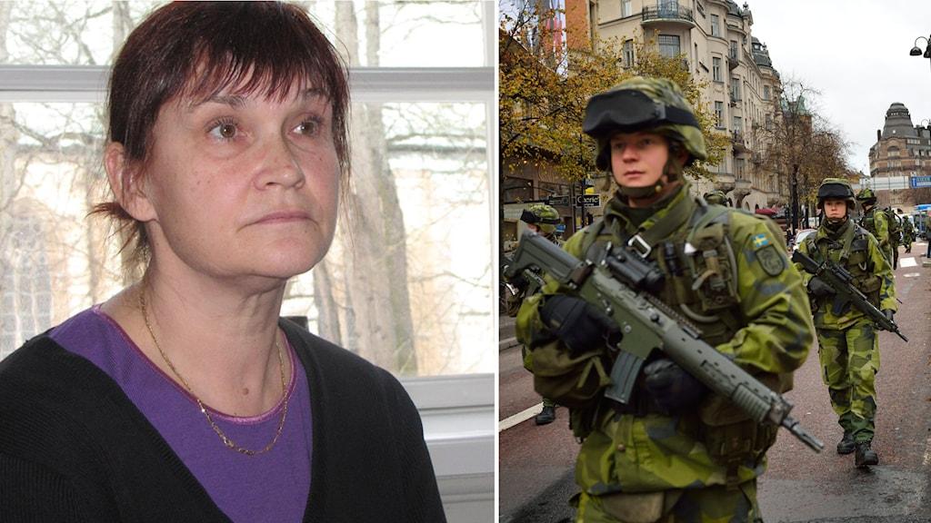 Kollage: Riksdagsledamoten Annika Lillemets (MP) och militärövning. Foto: Tahir Yousef/SR samt Henrik Montgomery/TT