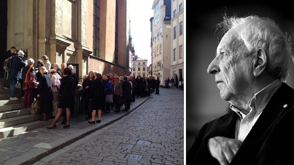 Till vänster en bild på kön utanför Storkyrkan. Till Höger ett porträtt av författaren Tomas Tranströmer.