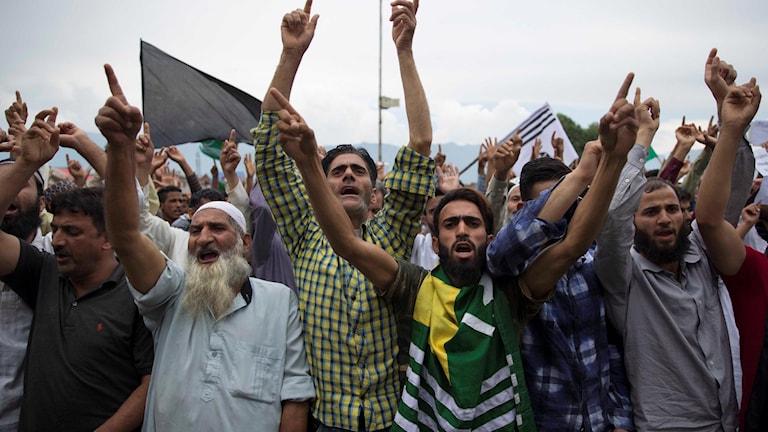 Personer demonstrerar för frihet i Kashmir.