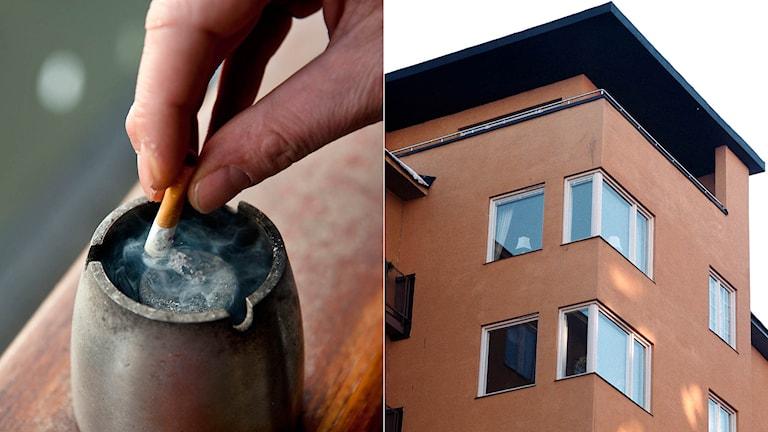 En person släcker en cigarett, fasad på ett flerbostadshus. Foto: TT. Montage: Ekot.