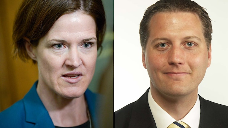Moderaternas partiledare Anna Kinberg Batra och moderata riksdagsledamoten Anders Hansson. Foto TT. Montage: Sveriges Radio.