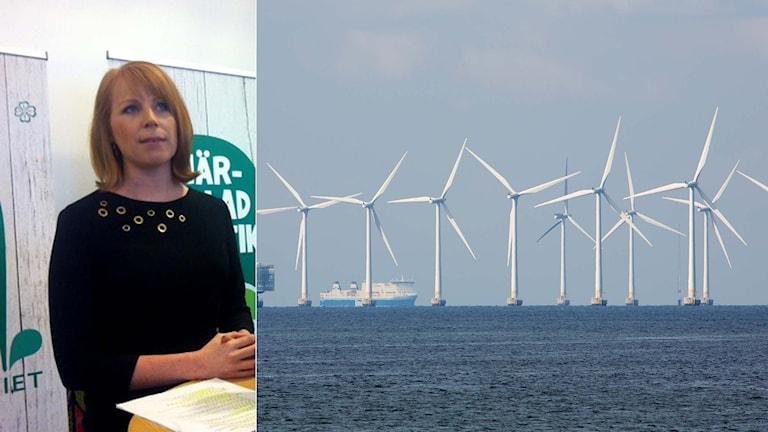 Centerns partiledare Annie Lööf och en vindkraftpark. Foto: TT. Montage: Sveriges Radio.