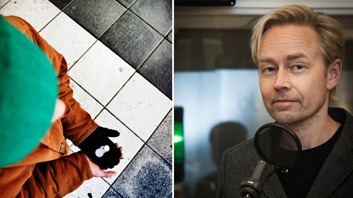 Fredrik Furtenbach kommenterar förslag om tiggeri. Foto: .Oskar Kullander/SvD/TT, Pablo Dalence/Sveriges Radio.
