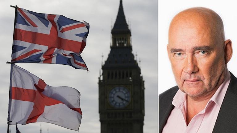 Storbritanniens flagga med Big Ben i bakgrunden. Londonkorrespondent Staffan Sonning. Foto: Tim Ireland/TT/Sveriges Radio.