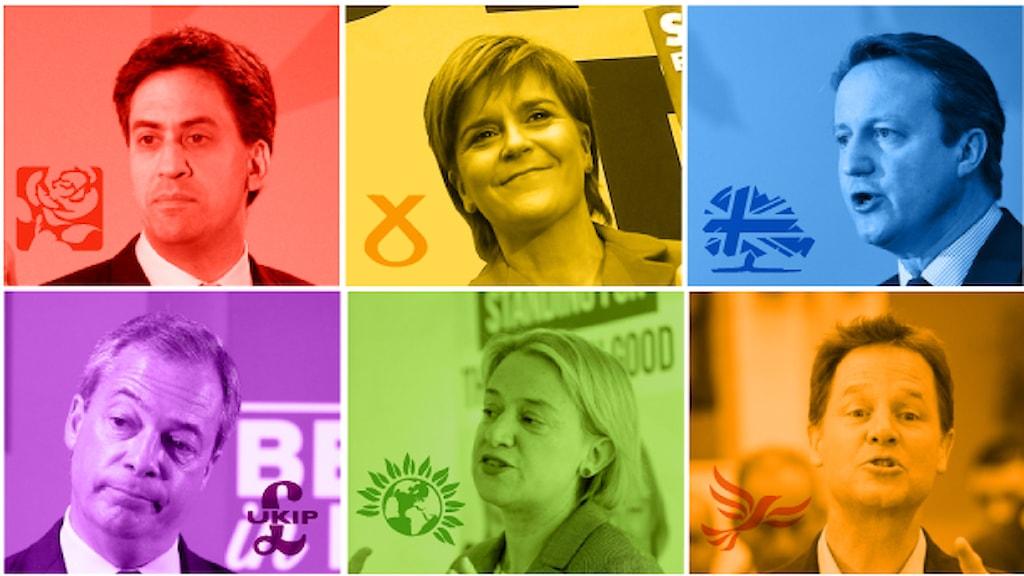 Bilder av de brittiska partiledarna inför parlamentsvalet 2015. Bild: Sveriges Radio.