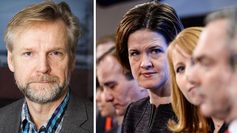 Tomas Ramberg och partiledarna i samband med decemberöverenskommelsen. Foto: Pablo Dalence/Sveriges Radio och Maja Suslin/TT. Kollage: Sveriges Radio.
