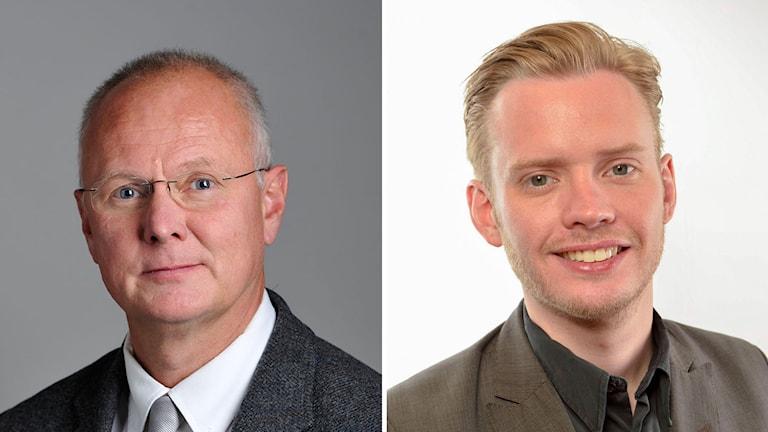 Finn Bengtsson (M) och partikollegan Fredrik Schulte. Foto: Henrik Montgomery/TT och Oskar Karlflo/TT