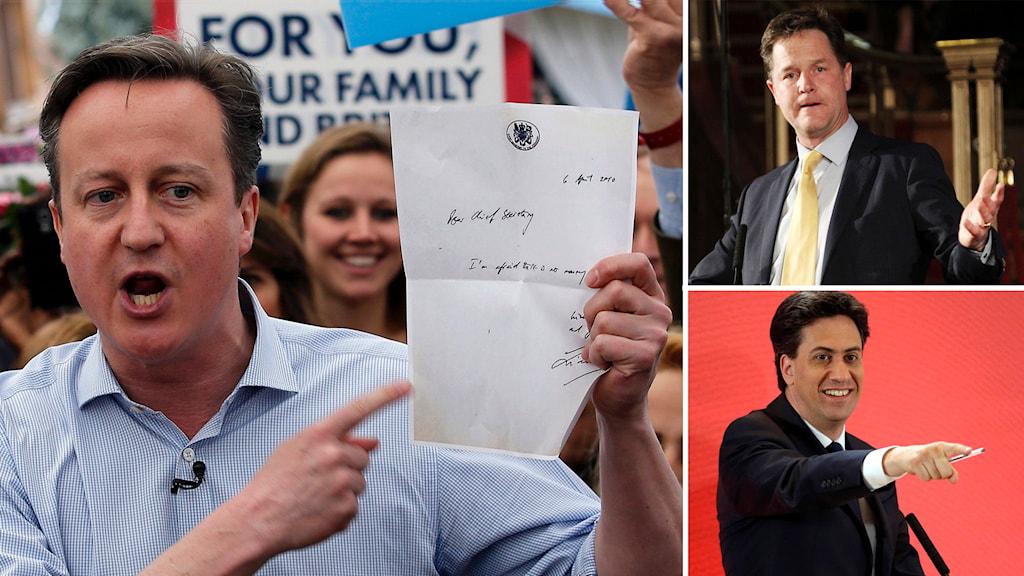 David Cameron, Nick Clegg, Ed Miliband. Foto: Peter Nicholls/Steve Parsons/Matt Dunham/TT.