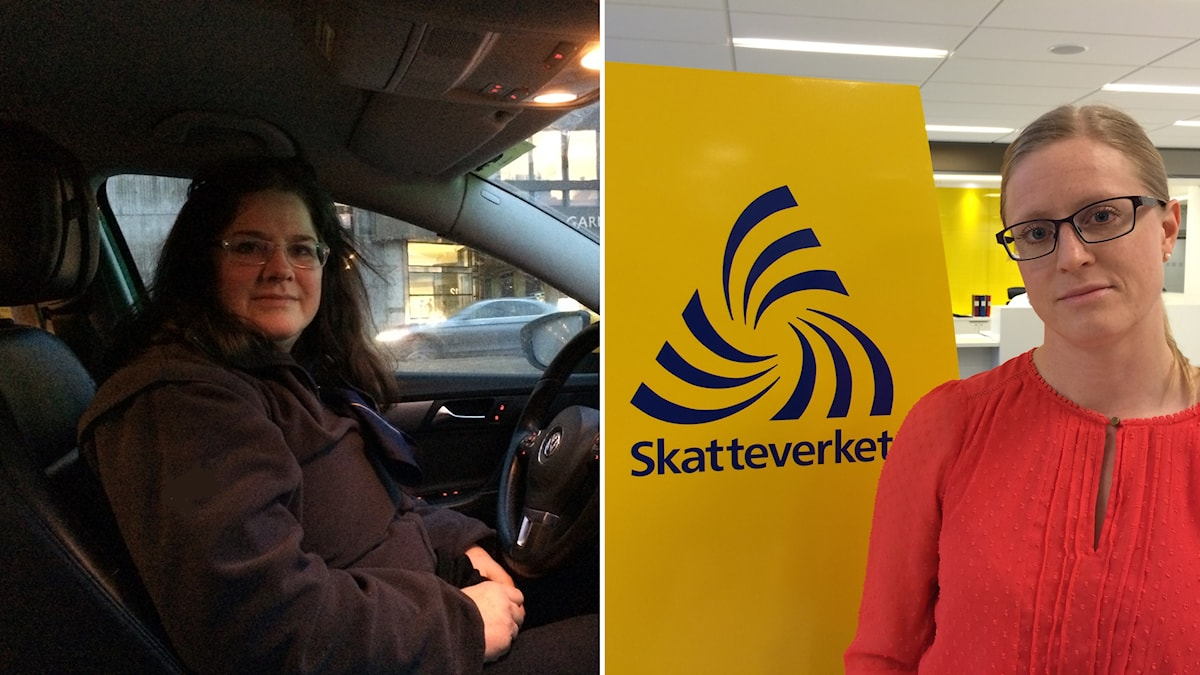 Taxichauffören Elisabeth Lundbladh och Skatteverkets samordnare Lise Pripp. Foto: Sveriges Radio