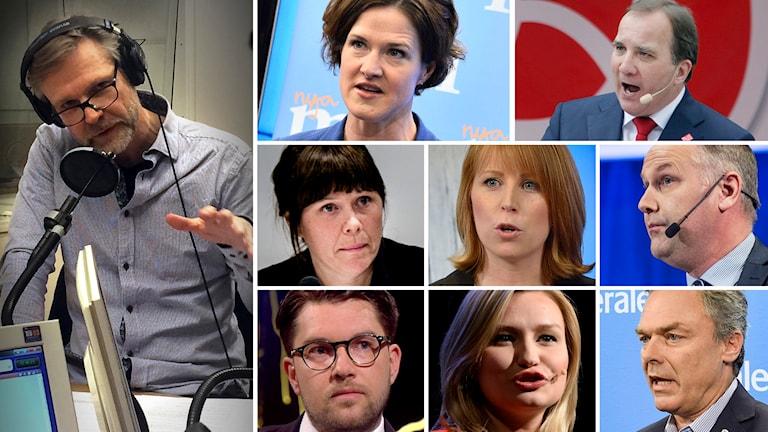 Tomas Ramberg. Foto: Sveriges Radio. Partiledarna för riksdagspartierna. Foto: TT.
