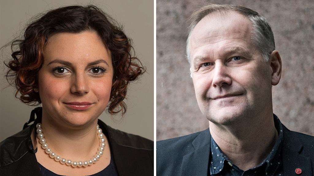 Paula Bieler och Jonas Sjöstedt. Foto: Pontus Lundahl/TT och Jonas Ekströmer / TT