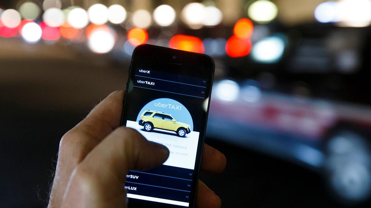 Appen Uber där man kan boka samåkning.