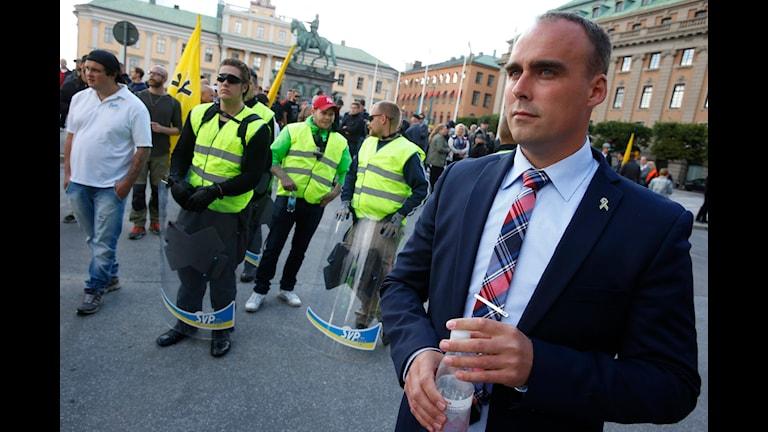 Svenskarnas parti och partiledaren Stefan Jacobsson. Foto: Fredrik Persson/TT