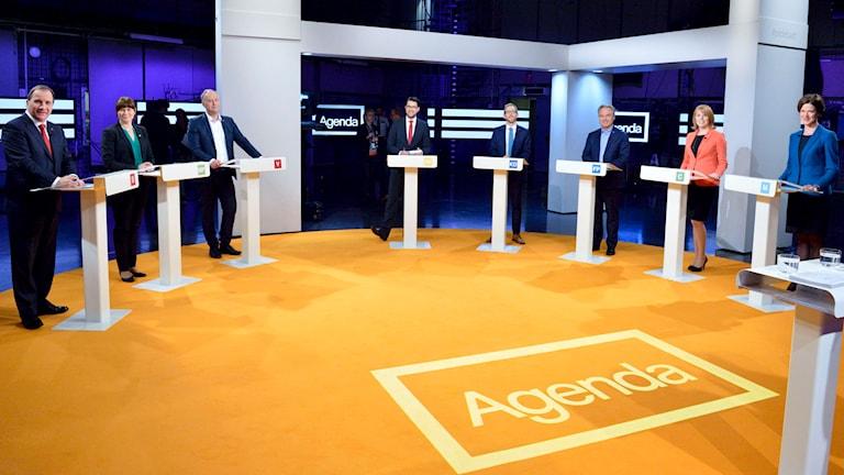 Partiledardebatten i Agenda, samtliga partiledare med. Foto: TT