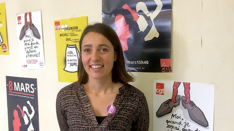 """Sophie Binet är ansvarig för jämställdhetsfrågor """"Femmes mixité"""" på fackföreningsrörelsen CGT"""
