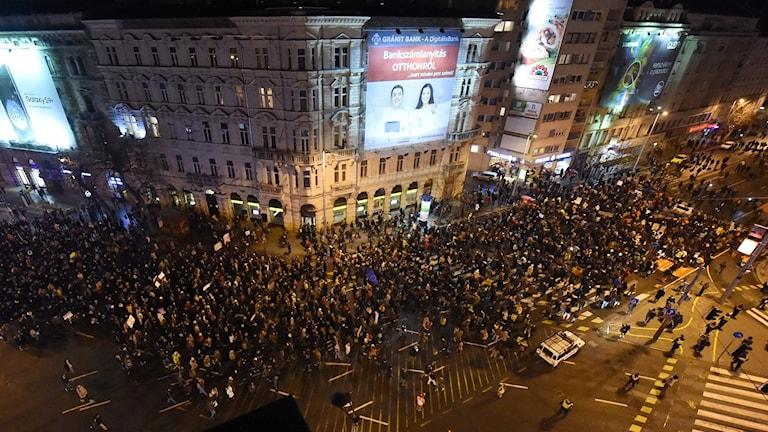 Demonstrationer i Budapest.