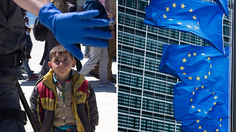 EU, flagga, flyktingar