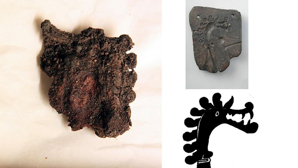 Det är inte helt lätt att se vad metallklumpen föreställer, men draken passar in i gjutformen som hittades 1870.  Foto: Antje Wendt/Historiska museet.