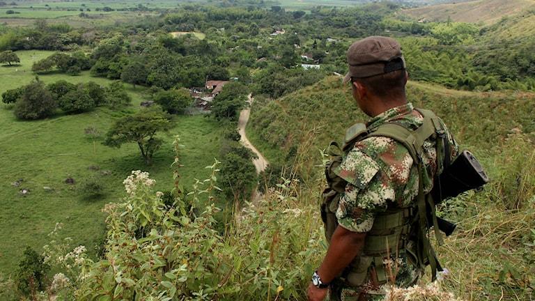 En medlem i Farc-gerillan står på vakt i Montealegre i Colombia. Arkivfoto: Juan B. Diaz/TT.
