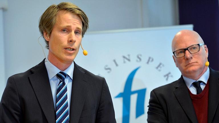 Martin Noréus,vikarierande generaldirektör för Finansinspektionen, och Per Håkansson, juristchef, håller pressträff med anledning att av att Nordea har brustit i sitt arbete att motverka penningtvätt