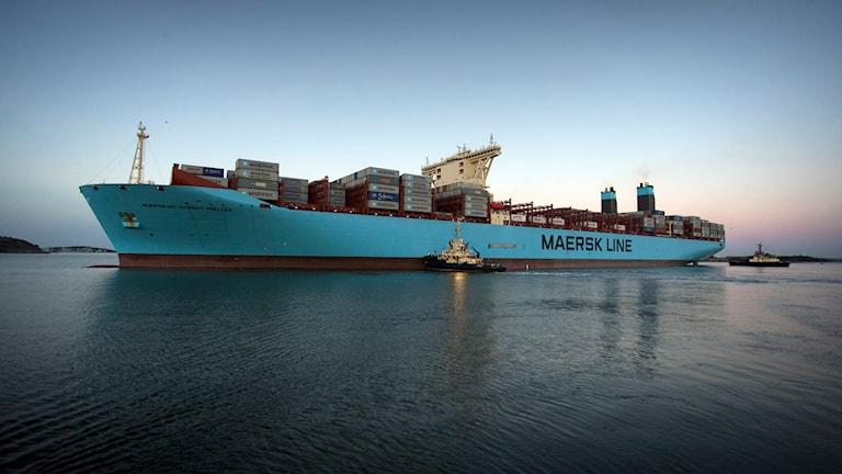 Ett av Maersks containerfartyg. Foto: Björn Larsson Rosvall /TT.