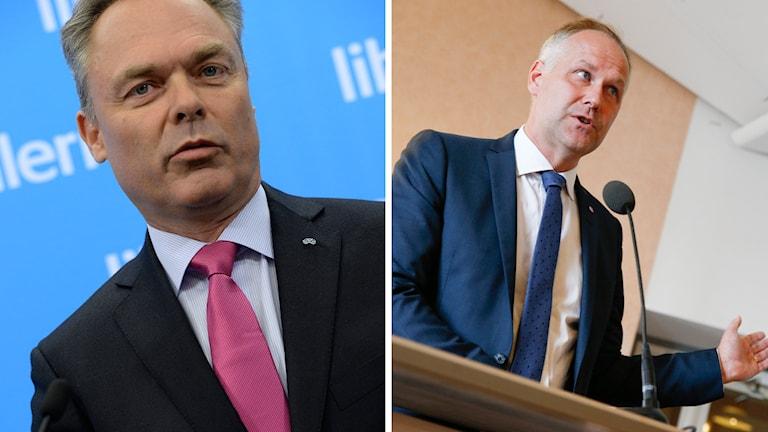 Jonas Sjöstedt, partiledare för Vänsterpartiet och Jan Björklund, partiledare för Folkpartiet. Foto: Janerik Henriksson / TT och Fredrik Persson / TT.