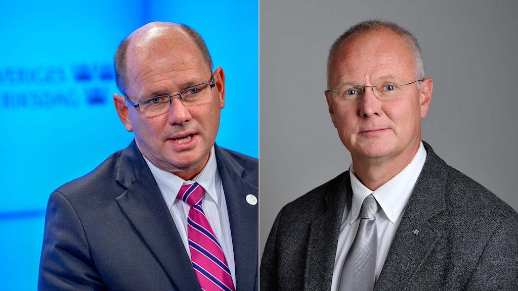 Talmannen Urban Ahlin (S) och riksdagsledamoten Finn Bengtsson (M). Foto: Henrik Montgomery/TT.