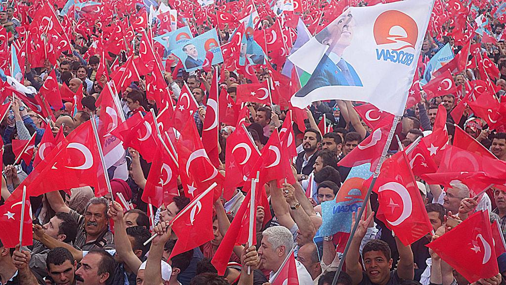 Massmöte med Turkiets president Tayyip Erdogan. Foto: Katja Magnusson/Sveriges Radio.