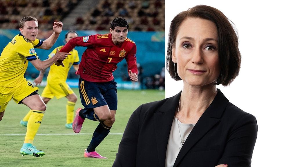 Bilden är tvådelad - två springande fotbollsbollspelare - en i gul tröja från det svenska laet och en i röd tröja från det spanska laget till vänster. Till höger en kvinna i mörkt kort hår, Marie Nilsson Boij.