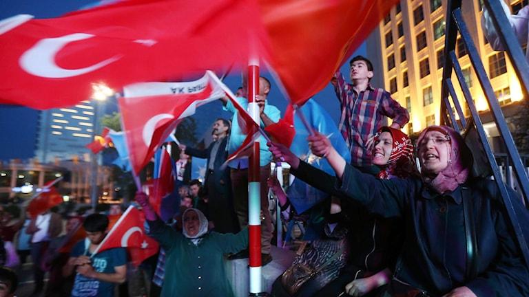 Kraftig tillbakagång för AKP. Foto: Adem Altan/TT.