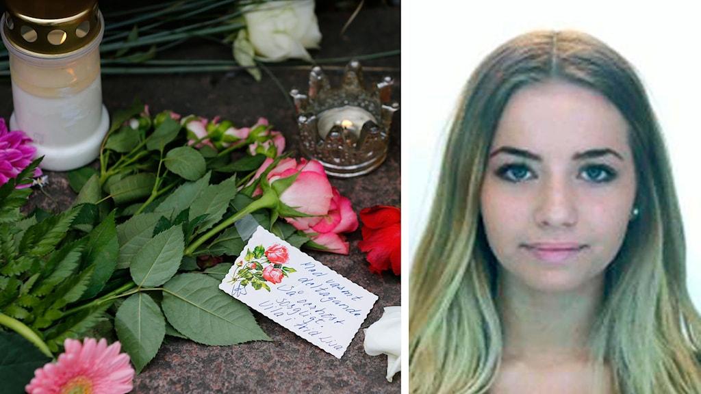 Blommor bild på Lisa Holm. Foto: Thomas Johansson/TT samt Polisen