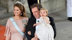 Prinsessan Madeleine och Chris O`Neill med dottern Leonore (arkivbild). Foto: Henrik Montgomery/TT