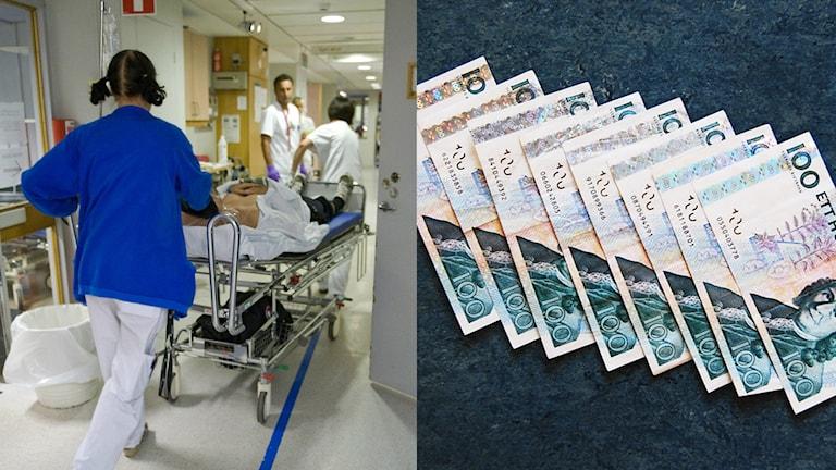 Sjuksköterska drar en säng med patient i en korridor på sjukhuset. Hundrasedlar i rad. Foto: TT. Montage: Sveriges Radio.