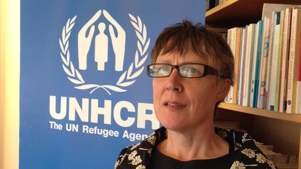 UNHCR:s Grainne O'Hara. Foto: Nivette Dawod/Sveriges Radio