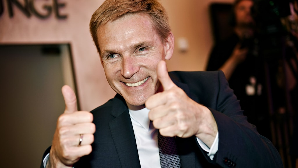 Danskt folkepartis ledare Kristian Thulesen Dahl var nöjd över valresultatet. Foto Keld Nandtoft / SCANPIX DANMARK / TT.