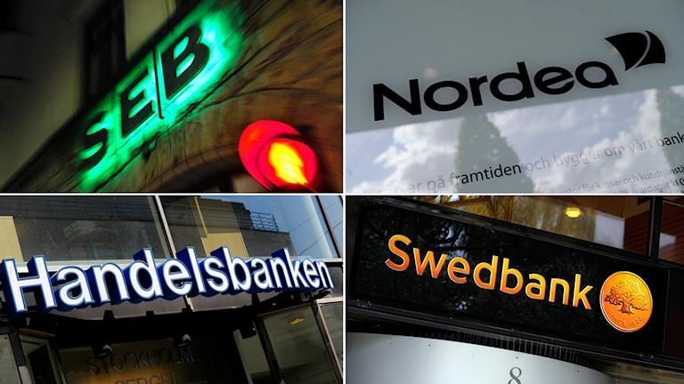 Några logotyper för stora svenska banker.