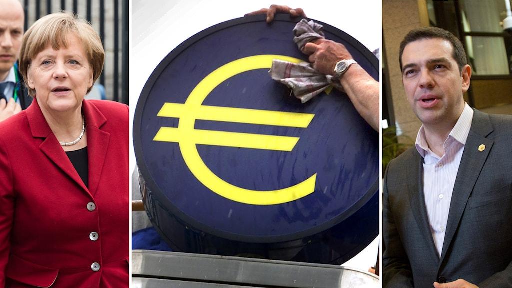 Angela Merkel och Alexis Tsipras. Foto: TT