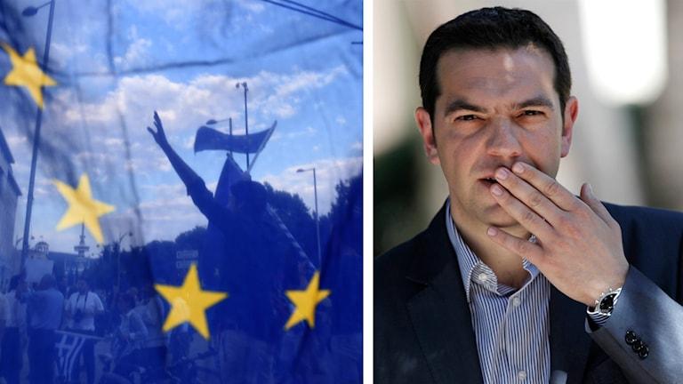EU.s flagga, greker i bakgrunden och Alexis Tsipras. Foto: Giannis Papanikos/TT samt  Petros Giannakouris/TT