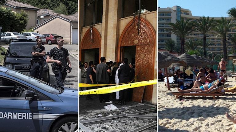 Attentat i Frankrike, Kuwait och Tunisien. Foto: TT