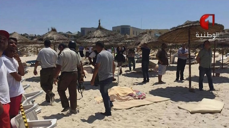 Attacken på stranden i Tunisien Foto: Tunisia TV/TT